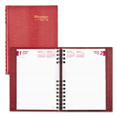 CoilPro Daily Planner, Ruled 1 Day/Page, 8 1/4 x 5 3/4, Red, 2018