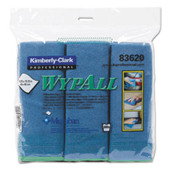 WypAll® Microfiber Cloths, Reusable, 15 3/4 x 15 3/4, Blue, 6/Pack