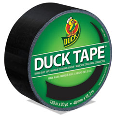 """Duck® Colored Duct Tape, 9 mil, 1.88"""" x 20 yds, 3"""" Core, Black"""
