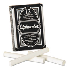 Quartet® Alphacolor White Chalk, Low-Dust, 12 Sticks/Pack