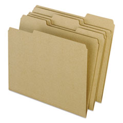 Earthwise by Pendaflex Recycled File Folders, 1/3 Top Tab, Ltr, Natural, 100/BX