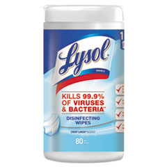 LYSOL® Brand Disinfecting Wipes, 7 x 8, Crisp Linen, 80 Wipes/Canister, 6 Canisters/Carton