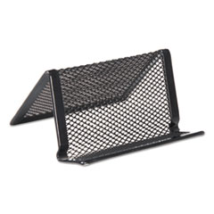Universal® Mesh Metal Business Card Holder, 50 2 1/4 x 4 Cards, Black