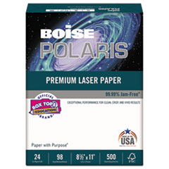 POLARIS Premium Laser Paper, 98 Bright, 24lb, 8 1/2 x 11, White. 500 Sheets