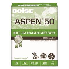 Boise® ASPEN 50% Multi-Use Recycled Paper, 92 Bright, 20lb, 8 1/2 x 11, White