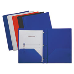 Universal® Plastic Twin-Pocket Report Covers with Fasteners