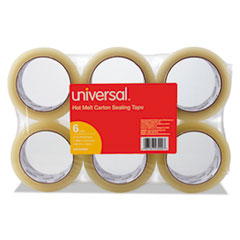 "Heavy-Duty Box Sealing Tape, 48mm x 50m, 3"" Core, Clear, 6/Pack"