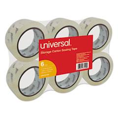"Universal® Heavy-Duty Acrylic Box Sealing Tape, 48mm x 50m, 3"" Core, Clear, 6/Pack"