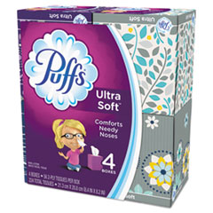 Puffs® Ultra Soft Facial Tissue, 2-Ply, White, 56 Sheets/Box, 4 Boxes/Pack