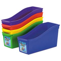 Interlocking Book Bins, 4 3/4 x 12 5/8 x 7, 5 Color Set, Plastic