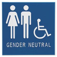 """Advantus Gender Neutral ADA Signs, 8"""" x 8"""", Man, Woman and Wheelchair"""