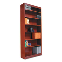 "Alera® Square Corner Wood Bookcase, Six-Shelf, 35.63""w x 11.81""d x 71.73""h, Medium Cherry"