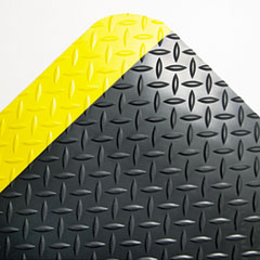 Crown Industrial Deck Plate Anti-Fatigue Mat, Vinyl, 24 x 36, Black/Yellow Border