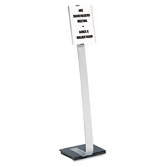 Info Sign Duo Floor Stand, Letter-Size Inserts, 15 x 46, Clear