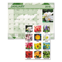 Antique Floral Monthly Desk Pad Calendar, 22 x 17, Antique Floral, 2018