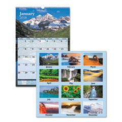 Scenic Monthly Wall Calendar, 15 1/2 x 22 3/4, 2018