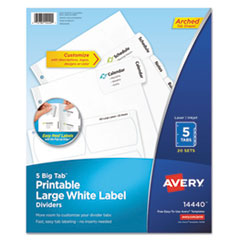 Avery® Big Tab™ Printable Large White Label Tab Dividers
