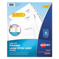 Big Tab Printable Large White Label Tab Dividers, 8-Tab, Letter, 20 per pack