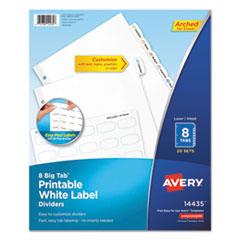 Big Tab Printable White Label Tab Dividers, 8-Tab, Letter, 20 per pack