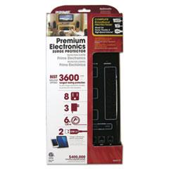 PRIME® Home Entertainment Surge Protectors, 8 Outlets, 6 ft Cord, 3600 J, Black