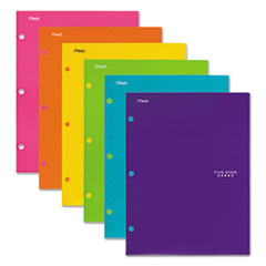Five Star® Four-Pocket Portfolio, 8 1/2 x 11, Assorted Colors, Trend Design, 6/Pack