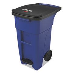 Rubbermaid® Commercial Brute Step-On Rollouts, Square, 50 gal, Blue