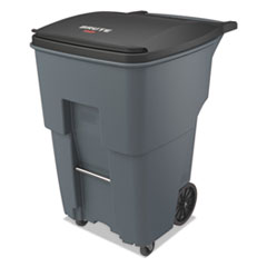 Rubbermaid® Commercial Brute Rollouts with Casters, Square, 95 gal, Gray