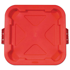 Rubbermaid® Commercial Square BRUTE Lid, 21.88w x 21.88d x 2.13h, Red