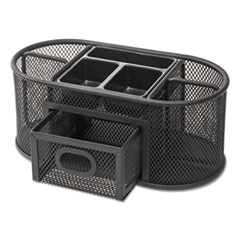Metal Mesh Oval Desktop Organizer, 9 3/8 x 4 x 4 7/8, Black