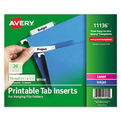 Avery® Tabs Inserts For Hanging File Folders