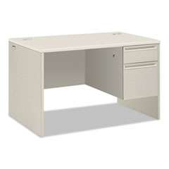 "HON® 38000 Series Single Pedestal Desk, 48"" Wide, Right, Silver Mesh/Light Gray"
