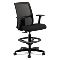 "HON® Ignition Series Mesh Low-Back Task Stool, 33"" Seat Height, Supports up to 300 lbs., Black Seat/Black Back, Black Base"