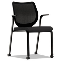 Nucleus Multipurpose Stacking Chair w/Ilira-Stretch M4 Back, Black, Base:Black