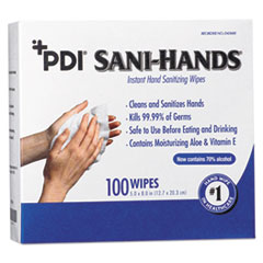 Sani Professional® PDI Sani-Hands Instant Hand Sanitizing Wipes, 8 x 5, 1000 per Carton