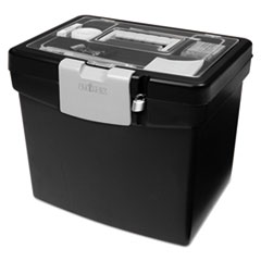 Portable File Box with Large Organizer Lid, 13 1/4 x 10 7/8 x 11, Black