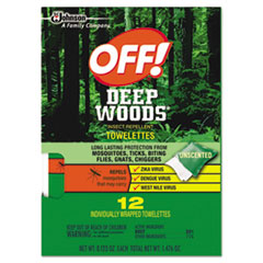 OFF!® Deep Woods Towelette, 0.28 Box, Unscented, 12/Box