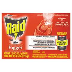 Raid® Concentrated Deep Reach Fogger, 1.5 oz Aerosol Can, 3/Pack, 12 Packs/Carton