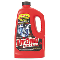 Drano® Max Gel Clog Remover, Bleach Scent, 80 oz Bottle, 6/Carton
