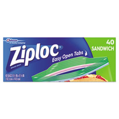 Ziploc® Resealable Sandwich Bags, 6 1/2 x 5 7/8, 1.2 mil, Clear, 40/Box, 12 BX/CT