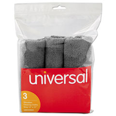 Universal® Microfiber Cleaning Cloth, 12 x 12, Gray, 3/Pack