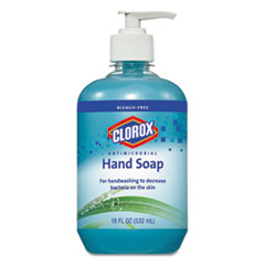 Clorox® Antimicrobial Hand Soap, Unscented, Blue, 18 oz Pump Bottle, 12/Carton