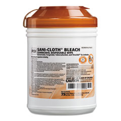 Sani Professional® Sani-Cloth Bleach Germicidal Disposable Wipes, 10 1/2 x 6, 75/Canister, 12/CT