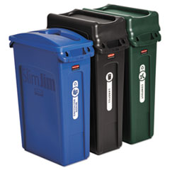 Rubbermaid® Commercial Slim Jim Recycling Container, Rectangular, 23 gal, Black/Blue/Green