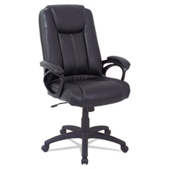 Alera® Alera CC Series Executive High Back Leather Chair, Supports up to 275 lbs., Black Seat/Black Back, Black Base