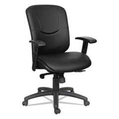 Alera® Eon Series Mid-Back Leather Synchro with Seat Slide Chair