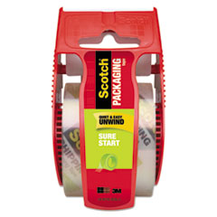 "Sure Start Packaging Tape with Dispenser, 1.5"" Core, 1.88"" x 22.2 yds, Clear"