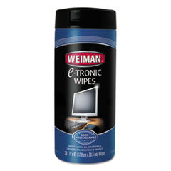 "WEIMAN® E-tronic Wipes, 8"" x 7"", White, 30/Canister, 4/Carton"