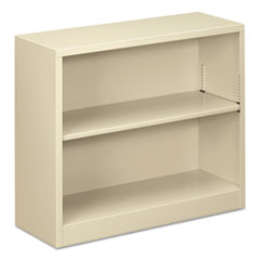"Steel Bookcase, 2-Shelf, 34.5""w x 12.63""d x 29""h, Putty"