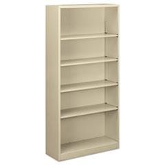 "Steel Bookcase, 5-Shelf, 34.5""w x 12.63""d x 71""h, Putty"