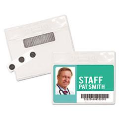 "Advantus Magnetic-Style Name Badge Kits, Horizontal, 4"" x 3"", Clear, 20/Pack"